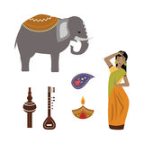 India animals and woman vector icons. Stock Photos