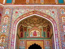 India Architecture Colorful Wall Mural Painting Stock Photo