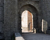 India Architecture Kangra Fort Entrance. Entrance doorways in the thick sturdy stone walls of Kangra Fort in Himachal Pradesh, India Stock Images