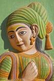 India art in Hawa Mahal, the Palace of Winds. Jaipur, Rajasthan, India (women Royalty Free Stock Photos