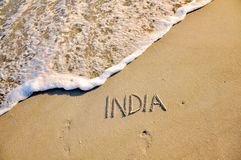 India. Artistic India written on the beach Stock Photos