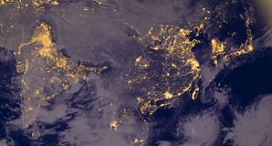 India and Asia lights during night as it looks like from space. Elements of this image are furnished by NASA. India lights during night as it looks like from Royalty Free Stock Photos