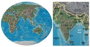 India and Asia Oceania maps Stock Photos