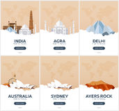 India, Australia. Time to travel. Set of Travel posters. Vector flat illustration. Stock Photos
