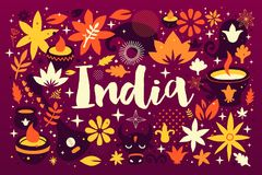 India background/banner template with abstract, floral and national elements. Useful for traveling advertising and web design Stock Illustration