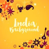 India background/banner template with abstract, floral and national elements. Useful for traveling advertising and web design Vector Illustration