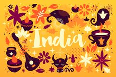 India background/banner template with abstract, floral and national elements. Useful for traveling advertising and web design Royalty Free Illustration