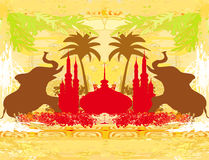 India background,elephant , building and palm trees Royalty Free Stock Image