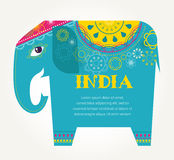 India - background with patterned elephant Royalty Free Stock Image