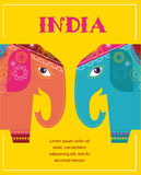 India - background with patterned elephants Stock Photography