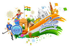 India background showing its incredible culture and diversity with monument, dance festival. Illustration of Indian background showing its incredible culture and Royalty Free Stock Image