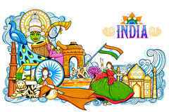 India background showing its incredible culture and diversity with monument, festival. Illustration of India background showing its incredible culture and Royalty Free Stock Images