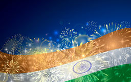 India background in tricolor and Ashoka Chakra with festive fireworks bursts. Concept of Indian Republic Day. Celebrations or Independence day. Flag over bright Stock Images