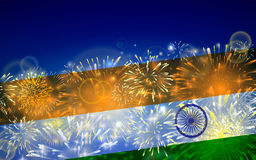 India background in tricolor and Ashoka Chakra with festive fireworks bursts. Concept of Indian Republic Day. Celebrations or Independence day. Flag over bright Stock Photos