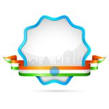 India Badge. Illustration of India tricolor flag in badge with golden frame Royalty Free Stock Photos