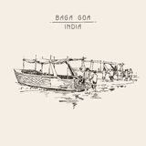 India Baga Beach sketch drawing with two boats ashore Stock Image