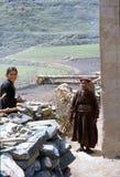 1977 india Barn och en gammal kvinna i den Kishori byn Royaltyfria Foton