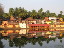 India bathing pond Kund and temples Stock Image