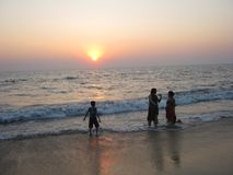 India beach at sunset Royalty Free Stock Photo
