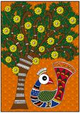 India birdie and tree. India colorful birdie and colorful tree vector illustration