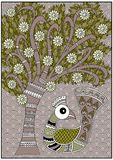 India birdie tree olive and brown colors. India birdie tree olive and brown white colors royalty free illustration