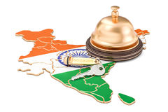 India booking concept. Indian flag with hotel key and reception Royalty Free Stock Image