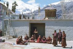 1977. India. Buddhist nuns and monks at Kardang-Gompa. Stock Image