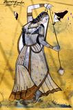 India, Bundi, Palace: painting on a wall Royalty Free Stock Photos
