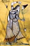 India, Bundi, Paleis: het schilderen op een muur Royalty-vrije Stock Foto's