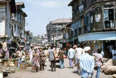 1977. India. Busy market street in Bombay. Royalty Free Stock Image