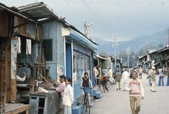 1977. India. A busy street in Chamba. Royalty Free Stock Image