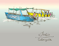 India Calangute Beach sketch drawing with two boats ashore Royalty Free Stock Photography