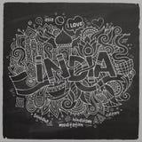 India chalk board background. India hand lettering and doodles elements chalk board background. Vector illustration Stock Illustration