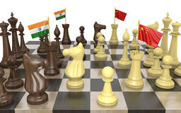 India and China foreign policy strategy and power struggle, 3D rendering Royalty Free Stock Photo