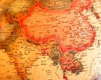 India, China, Thailand on the globe. India, China, Thailand, Burma on the globe royalty free stock images