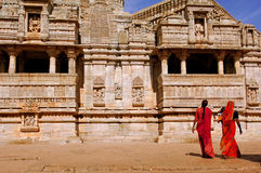 India, Chittorgarh: women  in a jain temple Stock Photography