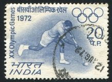 Hockey player, Olympic Rings. INDIA - CIRCA 1972: stamp printed by India, shows Hockey player, Olympic Rings, circa 1972 Royalty Free Stock Images