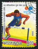 Runner. INDIA - CIRCA 2008: stamp printed by India, shows runner sportsman at III Commonwealth youth games, circa 2008 Royalty Free Stock Images