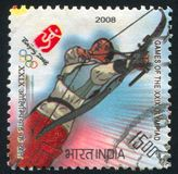 Target archery. INDIA - CIRCA 2008: stamp printed by India, shows Target archery at Games of the XXIX Olympiad, circa 2008 Royalty Free Stock Photography