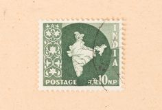INDIA - CIRCA 1970: A stamp printed in India shows the country of India, circa 1970. A stamp printed in India shows the country of India, circa 1970 royalty free stock photos