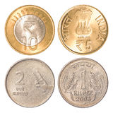 India circulating coins. Collection set isolated on white background Royalty Free Stock Photo