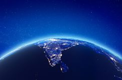 India city lights. Elements of this image furnished by NASA. 3d rendering royalty free illustration