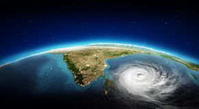 India city lights and tornado. 3d rendering. India city lights and tornado. Elements of this image furnished by NASA. 3d rendering Stock Photography
