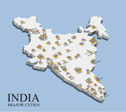 India city population map Royalty Free Stock Photos