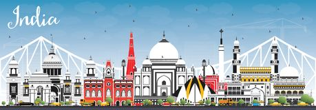 India City Skyline with Color Buildings and Blue Sky. Delhi. Hyderabad. Kolkata. royalty free illustration