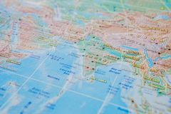 India in close up on the map. Focus on the name of country. Vignetting effect.  stock photography