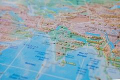 India in close up on the map. Focus on the name of country. Vignetting effect.  stock photo