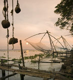 India - Cochin - Chinese Fishing Nets. Chinese fishing nets at sunrise in the Fort Kochi area of Cochin in the Kerala region of Southern India royalty free stock image