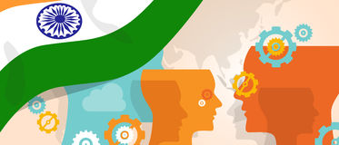 India concept of thinking growing innovation discuss country future brain storming under different view represented with royalty free illustration