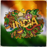 India country hand lettering and doodles elements Royalty Free Stock Images